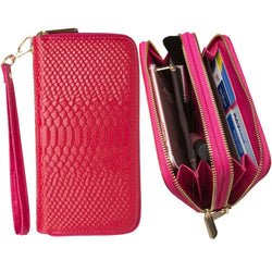 Samsung Vga1000 - Genuine Leather Hand-Crafted Snake-Skin Double Zipper Clutch Wallet