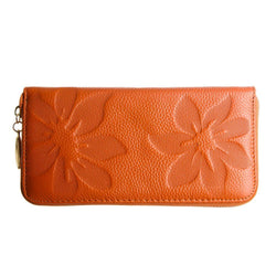 Samsung Sph A960 - Genuine Leather Embossed Flower Design Clutch, Camel