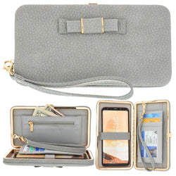 Motorola Backflip Mb300 - Bow clutch wallet with hideaway wristlet, Gray