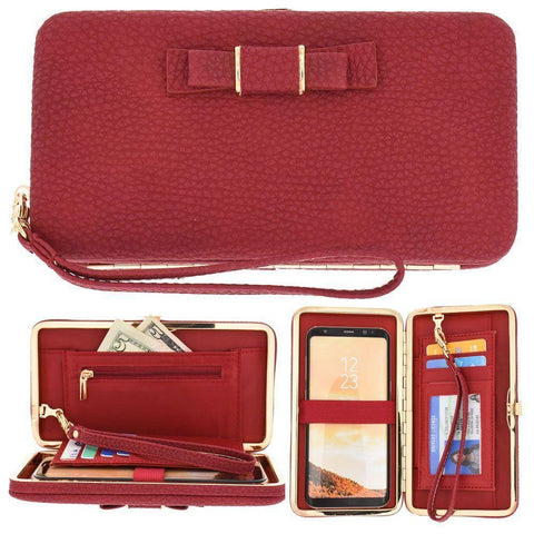 Bow clutch wallet with hideaway wristlet, Red