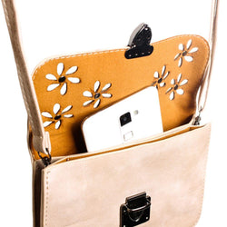 Laser Cut Studded Flower Design Crossbody Clutch, Taupe