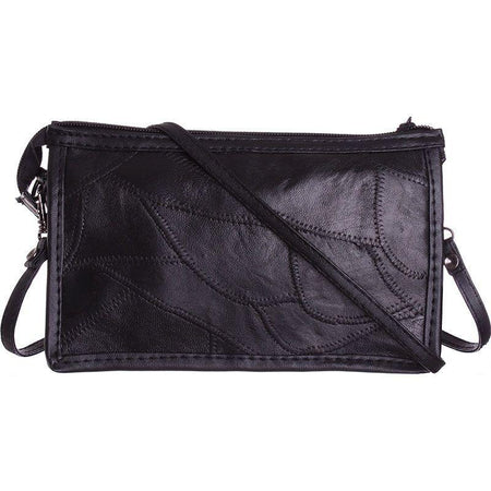 Other Brands Pcd Cdm8975 Genuine Leather Stitched Pieces Crossbody, Black