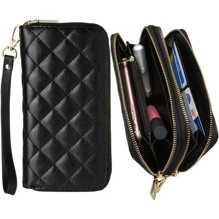 Other Brands Blu Studio 5 5 Genuine Leather Hand-Crafted Quilted Double Zipper Clutch Wallet