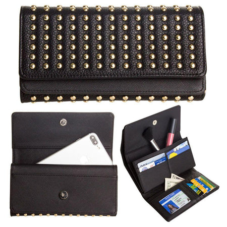 Lg Cookie Smart T375 Full Rockstud Tri-Fold Clutch