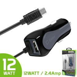 - HEAVY-DUTY 4ft Micro USB 2.4 AMP Fast Charging Car Charger, Black