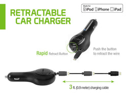 Cellet Apple 2. 2100 mAh 3 ft 8-Pin Certified Retractable Car Charger, Black