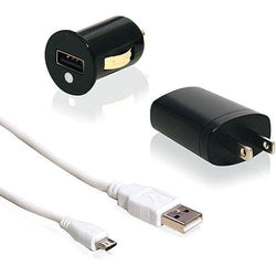 - 3-in-1 Wall and Car Charger Combo with Micro USB cable, Black/White