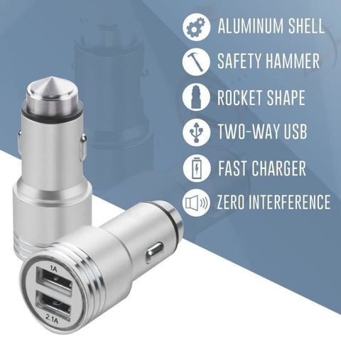 Image of Dual USB Port Fast Charging Vehicle Power Adapter (3.1 Amp 3100mAh) Silver - Phone Chargers