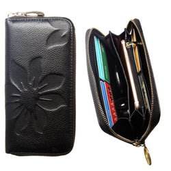 Samsung Sph A960 - Genuine Leather Embossed Flower Design Clutch