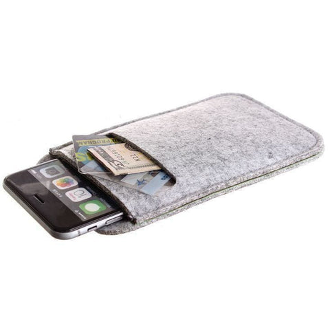Felt Wool Smartphone Sleeve Gray - Phone Wallets Wristlets & Clutches