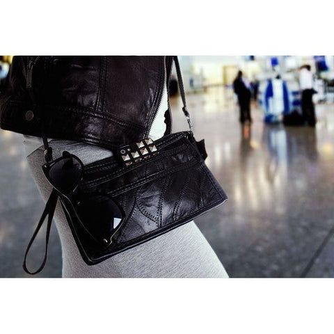 Genuine Leather Stitched Pieces Crossbody Black - Phone Wallets Wristlets & Clutches