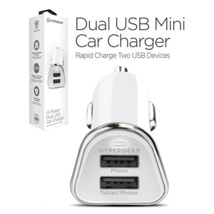 HyperGear Hi-Power Dual USB 3.4A Car Charger Adapter White - Phone Chargers