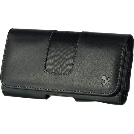 Blackberry Bold 9780 LUXMO Hand-Crafted Horizontal Leather Smart Phone Case with Belt Clip, Black