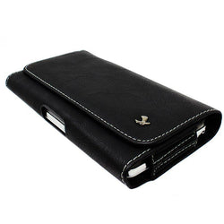 - Luxmo Horizontal Marble Leather Carrying Case with Belt Clip, Black