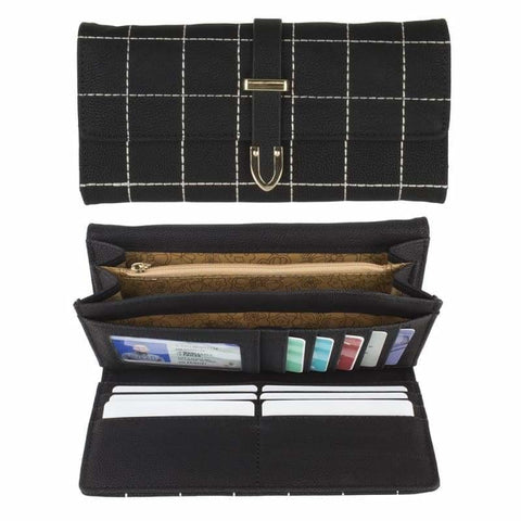 Image of Retro Style Vegan Leather Clutch Wallet with Snap Closure Black - Phone Wallets Wristlets & Clutches