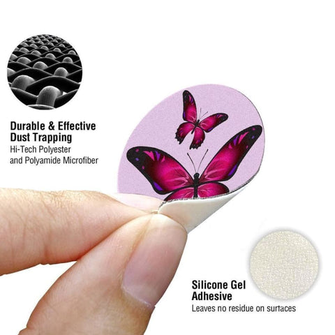 Image of Twin Butterflies Design Re-Usable Stick-On Screen Cleaner Pink - Screen Protectors