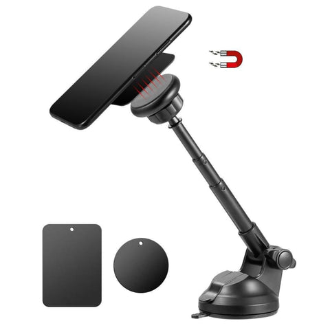 Universal 360 Rotatable Magnetic Quick Lock And Release Hands-Free Car Mount Holder With Telescopic Extension Arm Black - Phone Holders