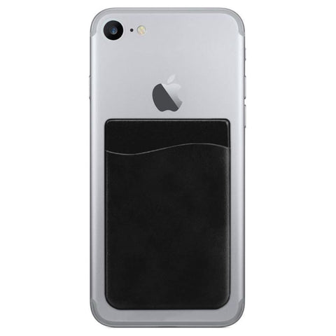 Image of Vegan Leather Stick-On Card Pocket Black - Phone Holders Holsters & Belt Clips