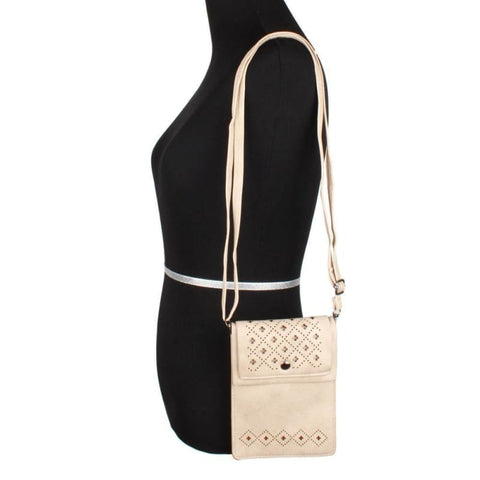 Image of Vegan Suede Diamond Laser Cut Crossbody With Adjustable Strap Bone - Phone Wallets Wristlets & Clutches