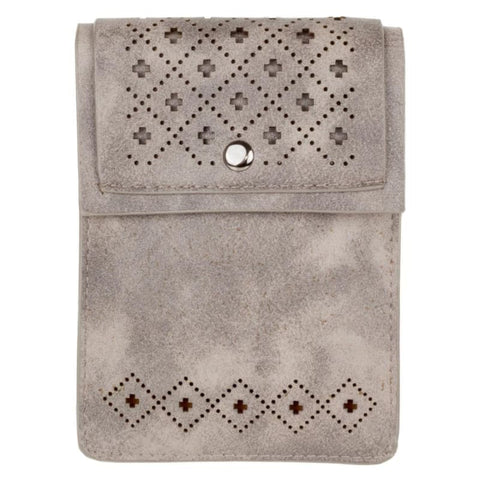 Vegan Suede Diamond Laser Cut Crossbody With Adjustable Strap Gray - Phone Wallets Wristlets & Clutches