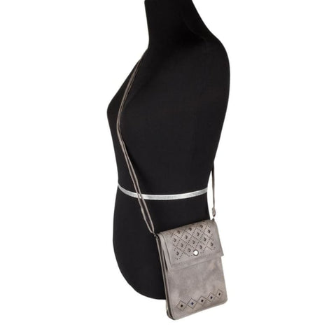 Image of Vegan Suede Diamond Laser Cut Crossbody With Adjustable Strap Gray - Phone Wallets Wristlets & Clutches
