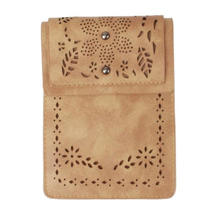 Vegan Suede Laser Cut Foldover Crossbody with Adjustable Strap, Camel