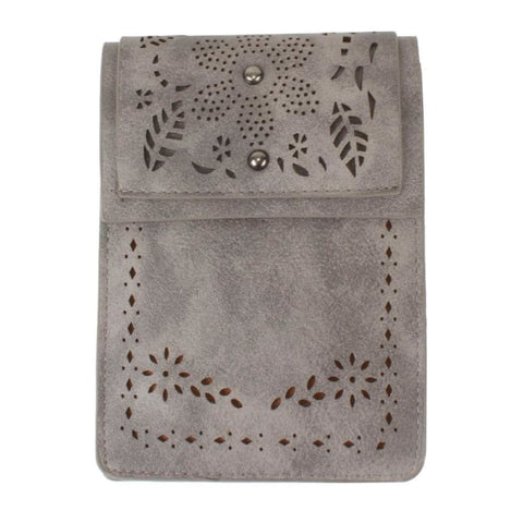 Vegan Suede Laser Cut Foldover Crossbody With Adjustable Strap Gray - Phone Wallets Wristlets & Clutches