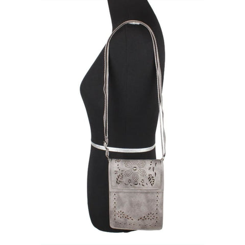 Image of Vegan Suede Laser Cut Foldover Crossbody With Adjustable Strap Gray - Phone Wallets Wristlets & Clutches