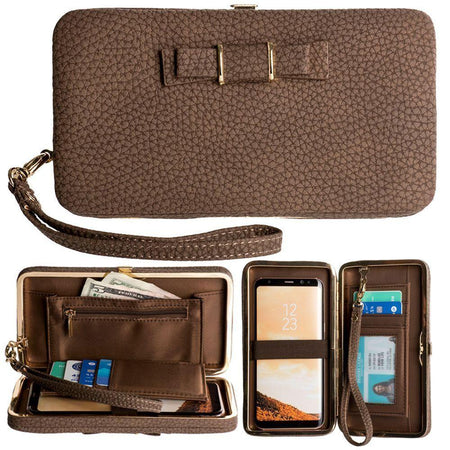Htc S720 Libra Bow clutch wallet with hideaway wristlet, Brown