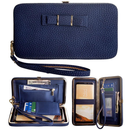 Htc S720 Libra Bow clutch wallet with hideaway wristlet, Navy