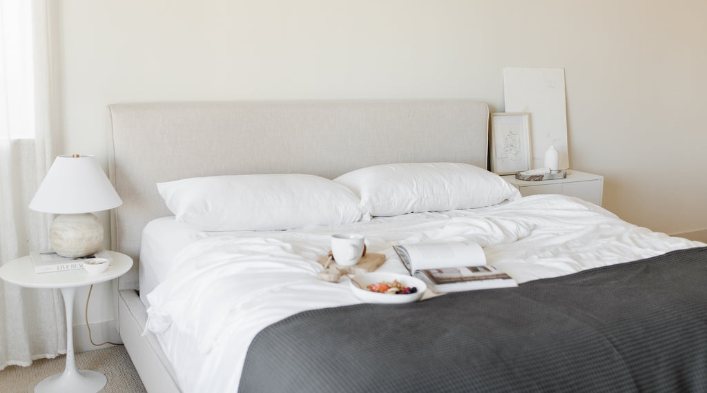 Bed with Cozy Earth bamboo bed sheets and comforter