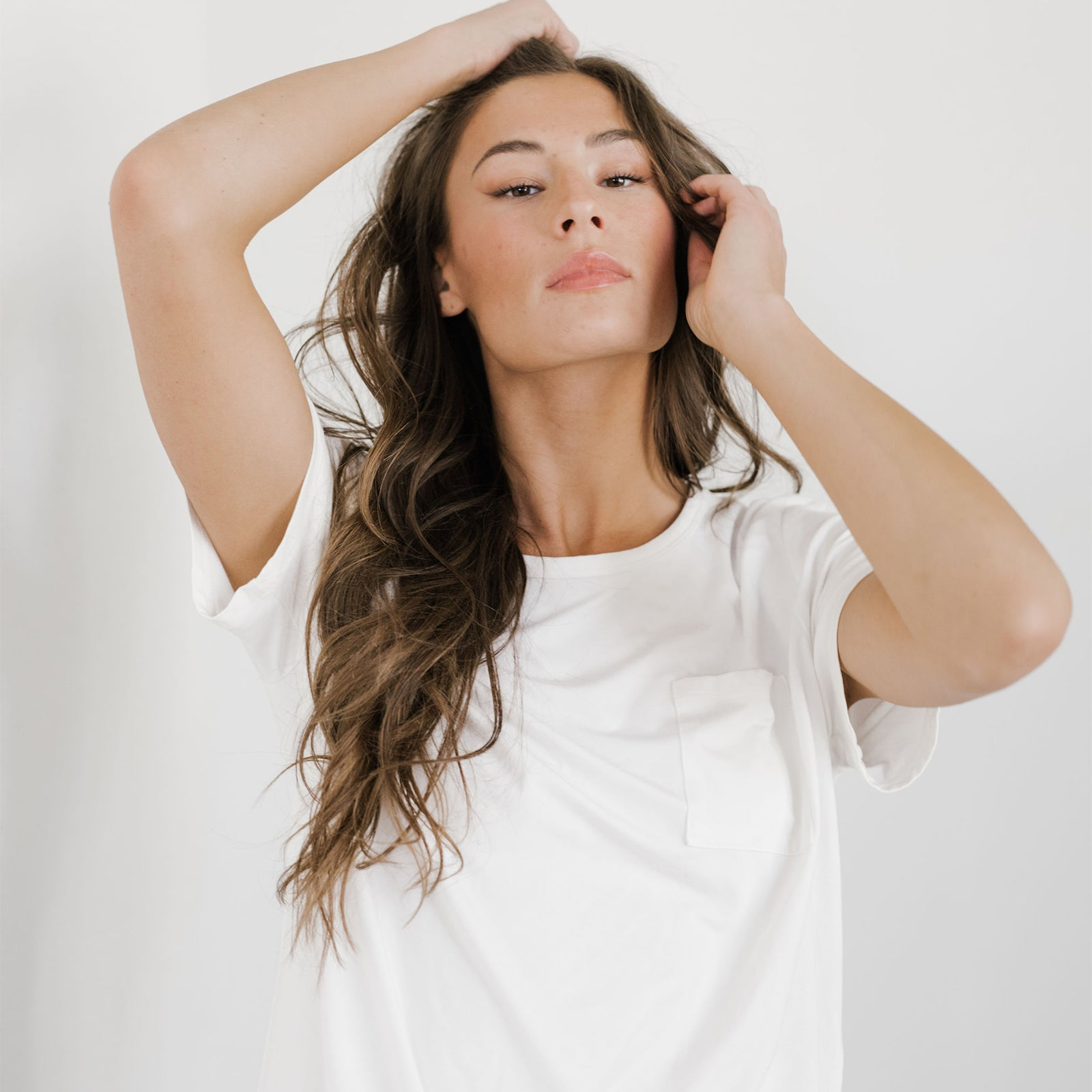 white Stretch-Knit Bamboo Lounge Tee