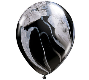 Black Marble Balloons set of 3, black and white balloons