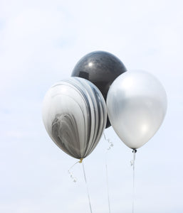 black silver and marble balloon, black and silver party decorations, black and silver birthday, over the hill balloons, black and white deocrations