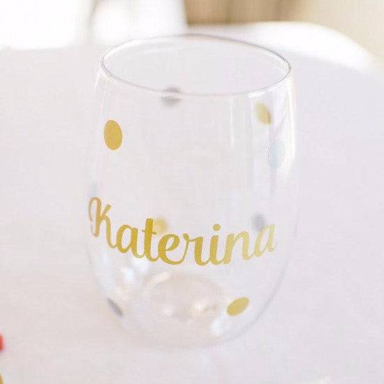 Personalized Wine Glass with Polka Dots