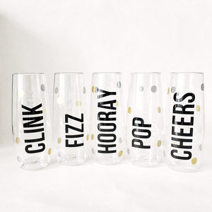 Pop, Fizz, Clink, Hooray, Cheers SET of FOUR (4) PLASITC Champagne Flutes