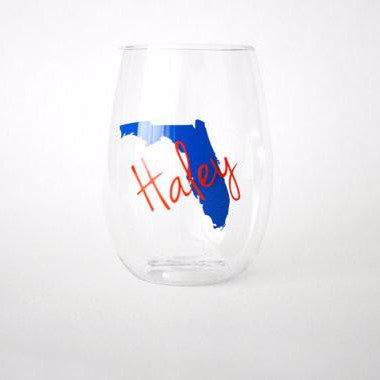 Plastic State and Name Plastic Wine Glass