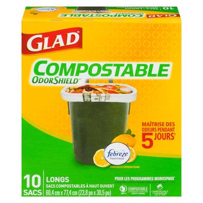 GLAD ODOR SHIELD SACS LONGS COMPOSTABLES FEBREZE 10 U