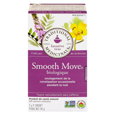 TRADITIONAL MEDICINALS SMOOTH MOVE TISANE CONSTIPATION OCCASIONNELLE BIOLOGIQUE 20S 40 G