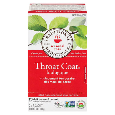 TRADITIONAL MEDICINALS THROAT COAT TISANE MAUX GORGE BIOLOGIQUE 20S 40 G