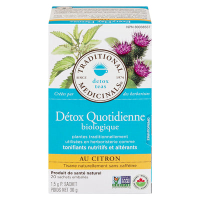 TRADITIONAL MEDICINALS DETOX QUOTIDIENNE TISANE CITRON BIOLOGIQUE 20S 30 G