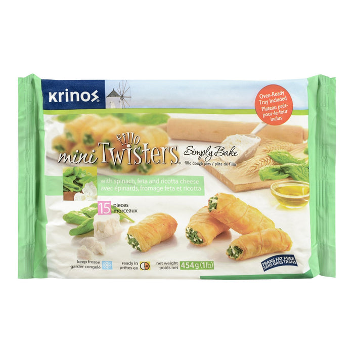 KRINOS MINI FILLO TWISTERS PATES EPINARDS FROMAGE FETA RICOTTA 15S 454 G