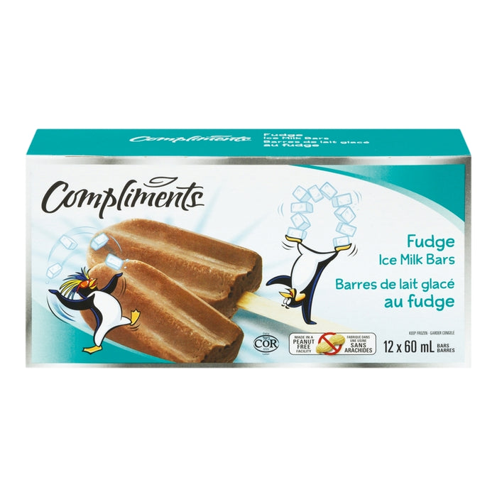 COMPLIMENTS, BARRES DE LAIT GLACÉ AU FUDGE, 12X60 ML