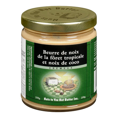 NUTS TO YOU NUT BUTTER BEURRE DE NOIX FORET TROPICALE NOIX COCO CREMEUX 250 G