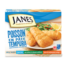 JANE'S, FILETS DE POISSON EN PÂTE TEMPURA, 640G