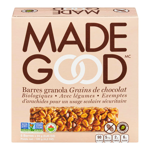 MADE GOOD BARRES GRANOLA GRAINS CHOCOLAT BIOLOGIQUES, 5S, 120 G