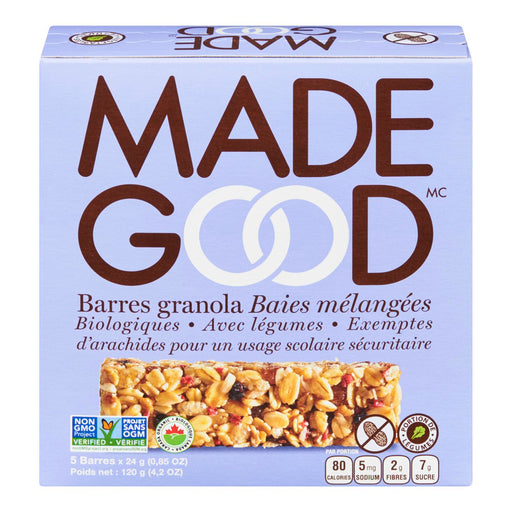 MADE GOOD BARRES GRANOLA BAIES MELANGEES BIOLOGIQUES, 5S, 120 G