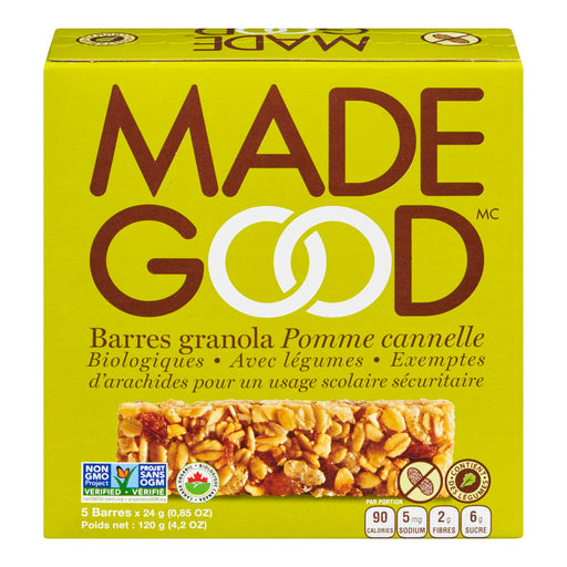 MADE GOOD BARRES GRANOLA POMME CANNELLE BIOLOGIQUE, 5S, 120 G