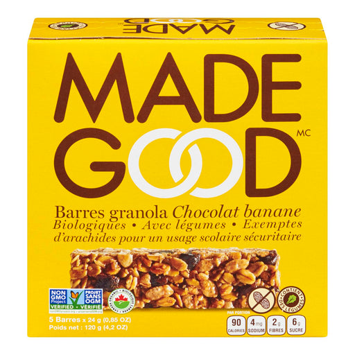 MADE GOOD BARRES GRANOLA CHOCOLAT BANANE BIOLOGIQUE, 5S, 120 G
