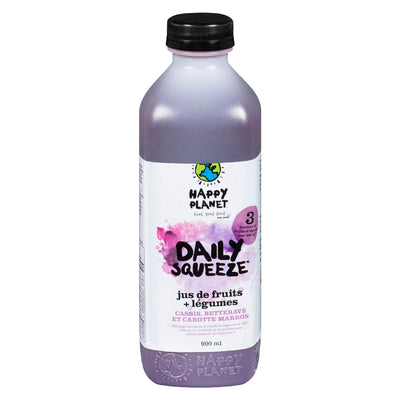 HAPPY PLANET DAILY SQUEEZE JUS CASSIS BETTERAVE CAROTTE MARRON 900 ML